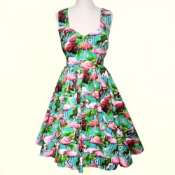 Vestido Estampado Flamingos Verde Curto Alças