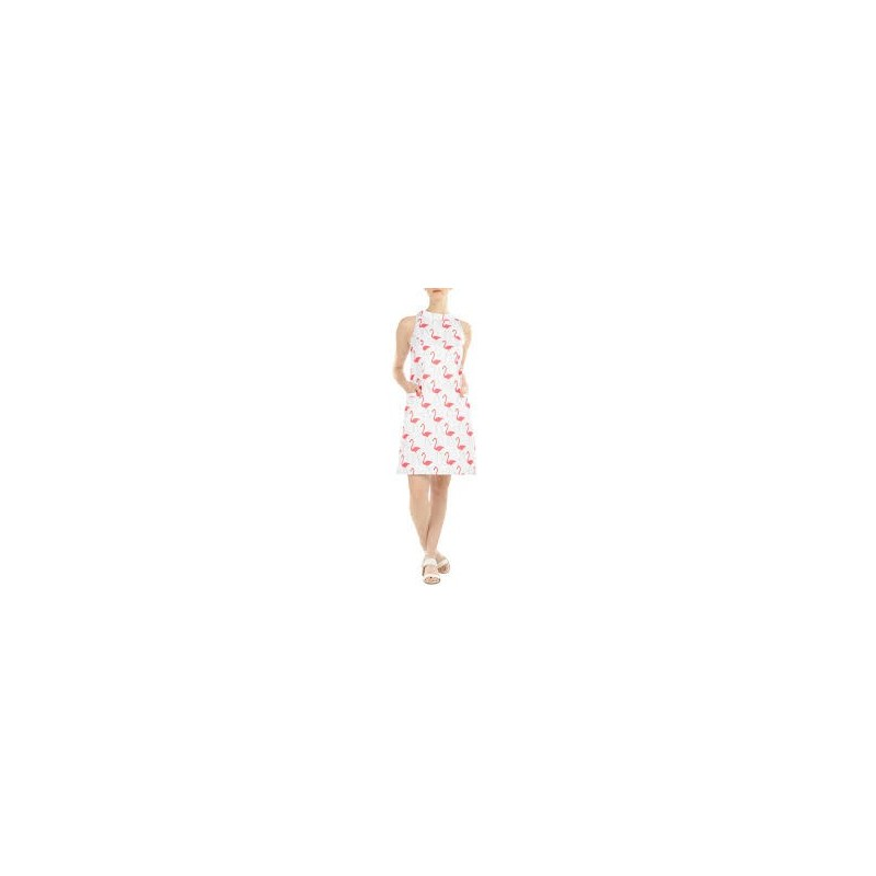 Vestido Estampado Flamingos Branco Curto Decote Alto