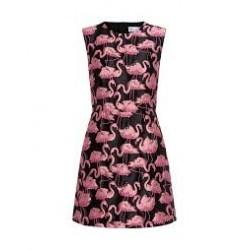 Vestido Flamingo Preto Decote U Elegante