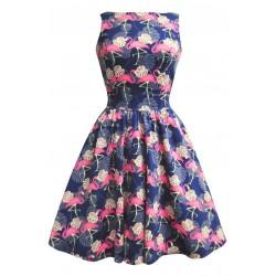 Vestido Flamingo Azul Godê Decote U Elegante