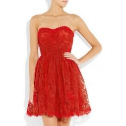 Vestido Curto Renda Vermelho Tomara que Caia