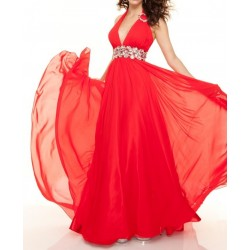 Vestido Longo Festa Chiffon Vermelho