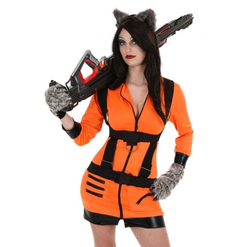 Fantasia Adulto Feminina Rocket Guardiões da Galáxia Halloween Cosplay Carnaval