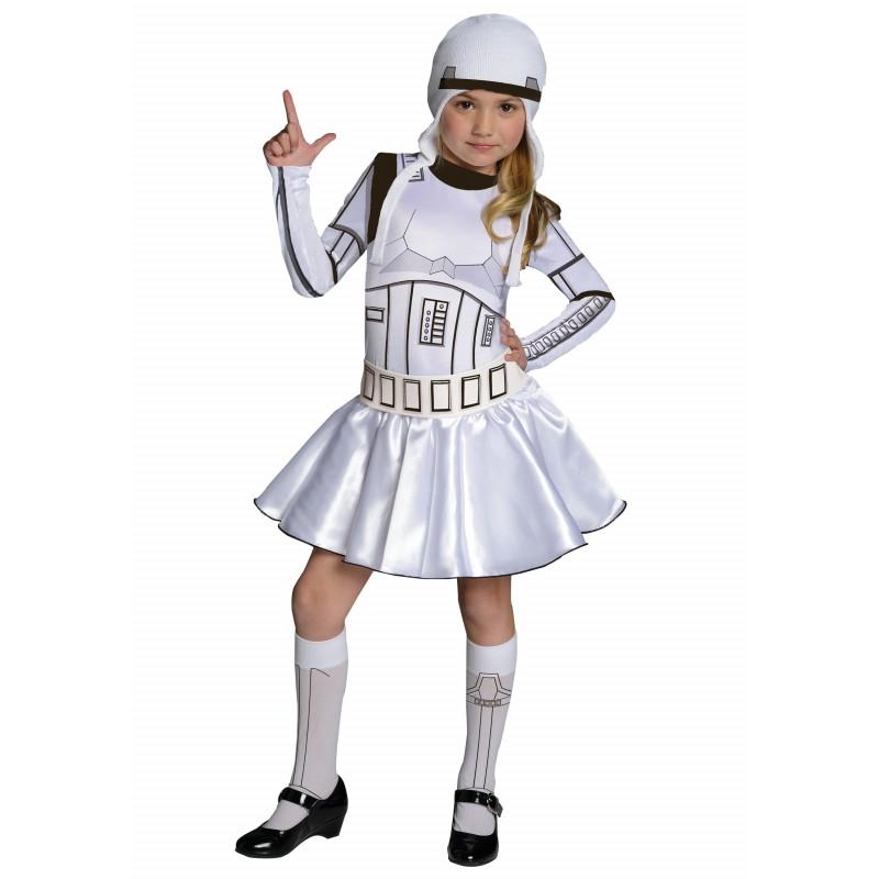 Fantasia Infantil Storm Trooper Meninas Star Wars Carnaval Halloween Festa a Fantasia