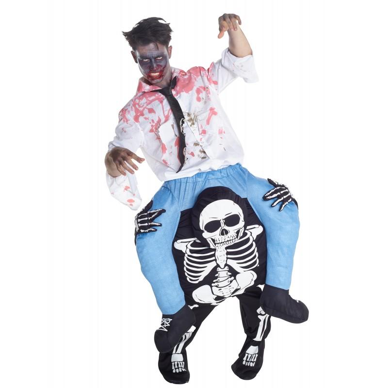 Fantasia Adulto Zumbi montado na Caveira Halloween Carnaval