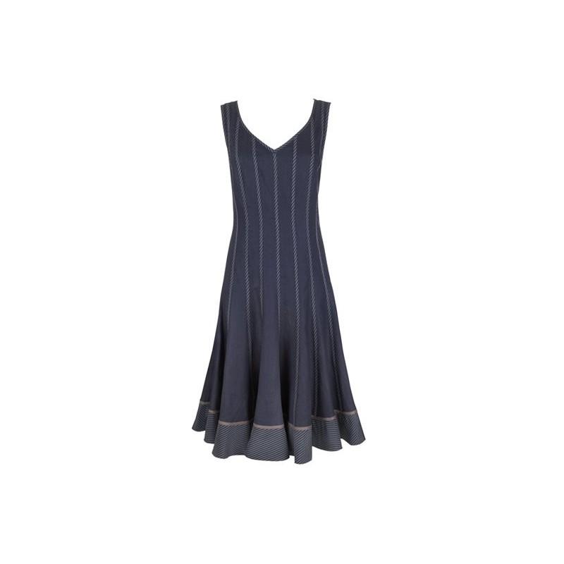 Vestido Casual Listras Azul Saia Godê