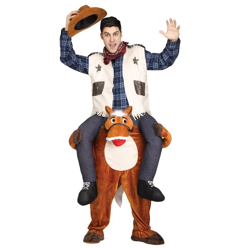 Fantasia Adulto Cowboy montado no Cavalo Halloween Carnaval