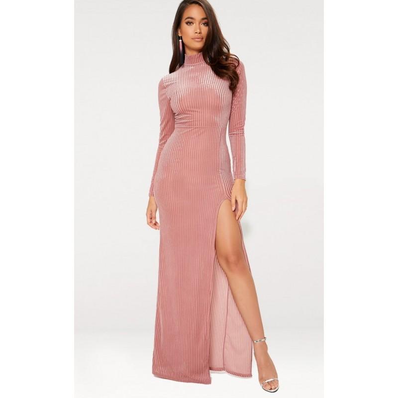 Vestido Festa Longo Rosa Nude Gola Alta Fenda