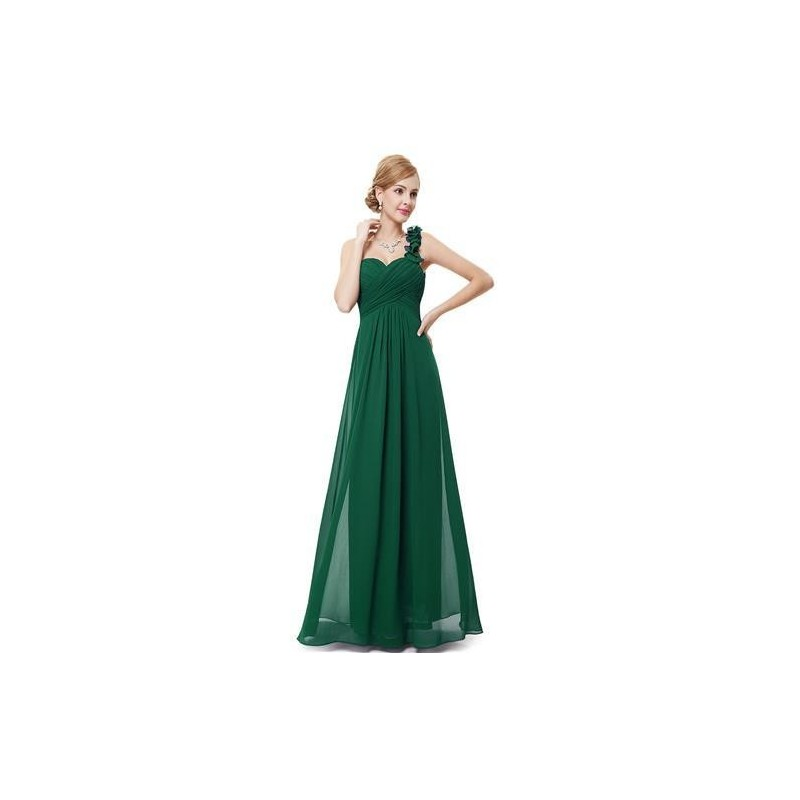 Vestido Longo Festa Chiffon Assimétrico Verde Decote Coração