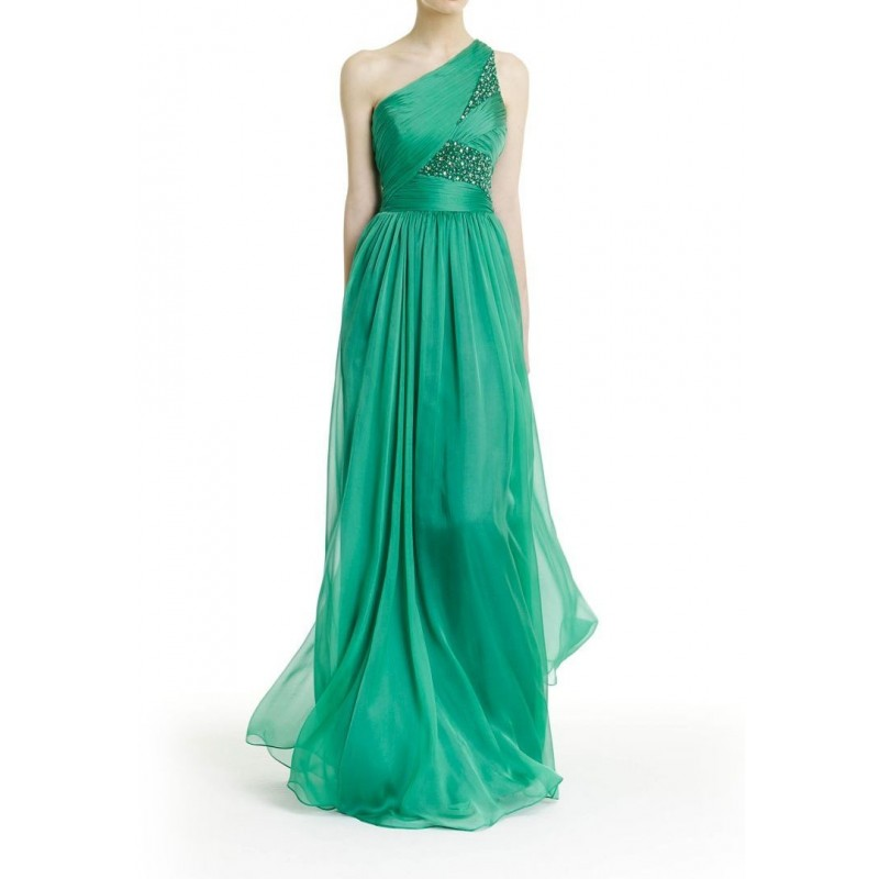 Vestido Festa Longo Verde Tafetá Assimétrico Brilho