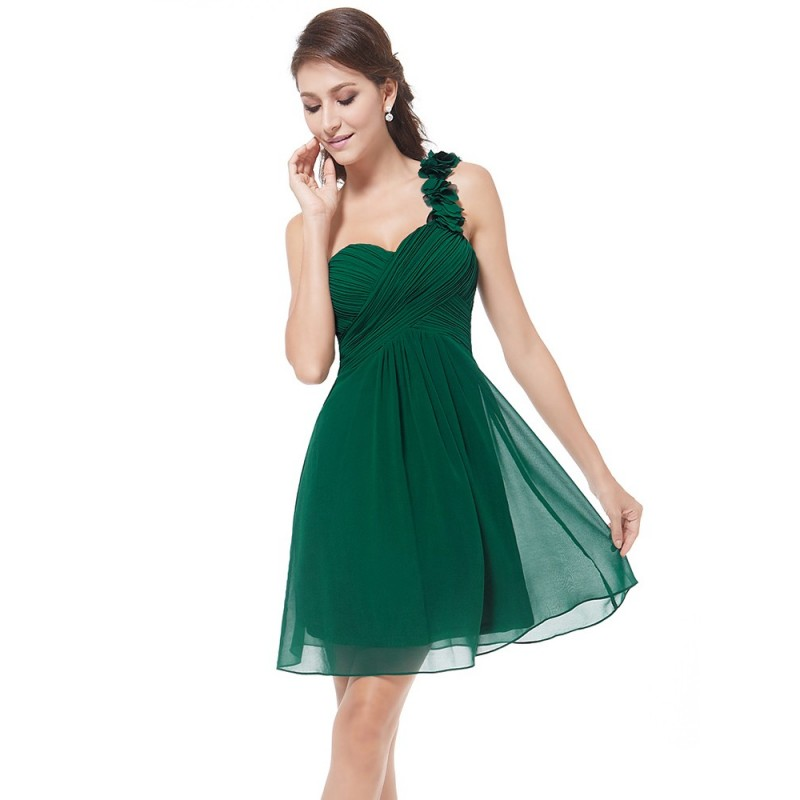 Vestido Festa Curto Assimétrico Chiffon Verde