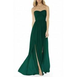 Vestido Festa Longo Verde Tomara que Caia Fenda