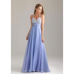 Vestido Longo Festa Azul Brilho Alças