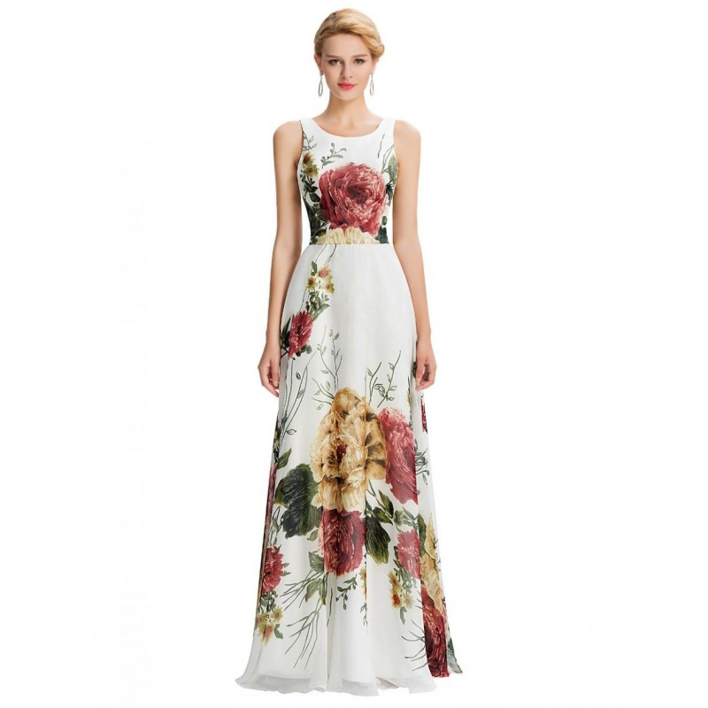Vestido Festa Longo Branco Florido Alças Cintura Marcada