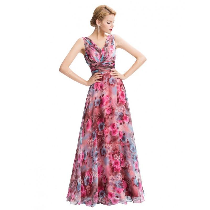 Vestido Longo Festa Floral Rosa Decote Transpassado