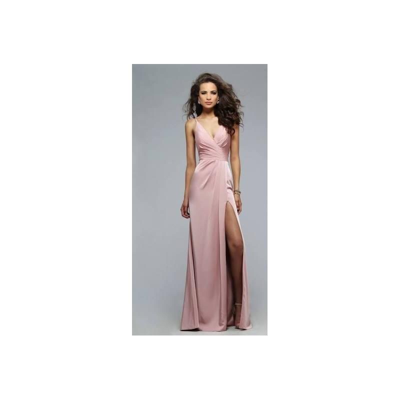 Vestido Longo Festa Rosa Fenda Decote Transpassado
