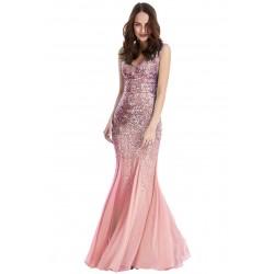 Vestido Longo Rosa Brilho Sereia Festa