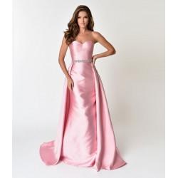 Vestido Cetim Longo Rosa Tomara que Caia Festa