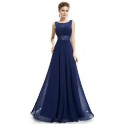 Vestido Longo Festa Renda Azul Marinho Chiffon