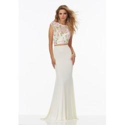 Vestido Longo Duas Peças Branco Estampa Floral Sereia