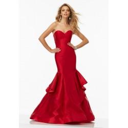 Vestido Longo Vermelho Sereia Tomara que Caia Tafetá
