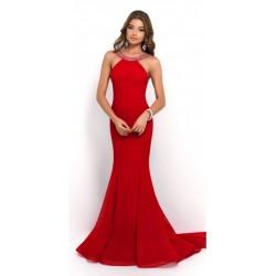Vestido Longo Sereia Vermelho Chiffon Importado