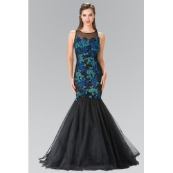 Vestido Longo Festa Sereia Floral Azul e Preto