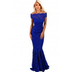 Vestidos Longo Festa Renda Azul Ombros a Mostra