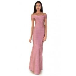 Vestido Longo Sereia Rosa Ombros a Mostra