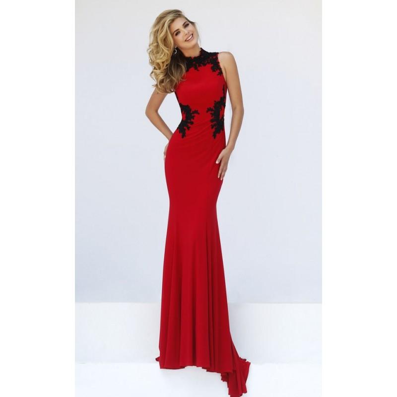 Vestido Longo Vermelho e Preto com Renda Decote Alto