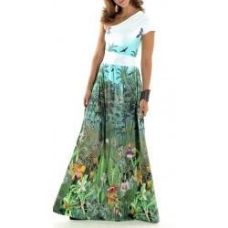 Vestido Longo Estampado Floral Natureza