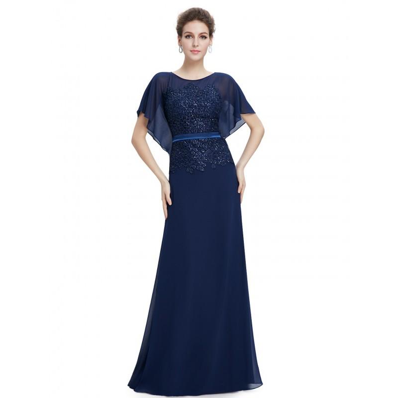 Vestido Longo Azul Escuro Chiffon