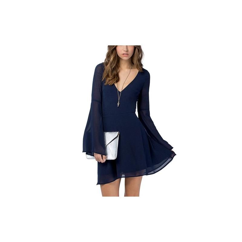 Vestido Curto Chiffon Azul Escuro Manga Longa