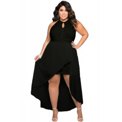 Vestido Plus Size Preto Festa Top Renda