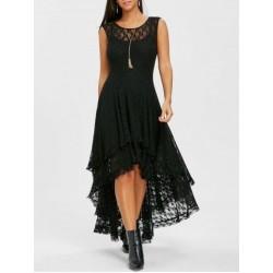 Vestido Renda Comprimento Médio Preto