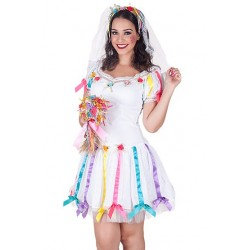 Fantasia Feminina Noiva Caipira Festa São João Vestido