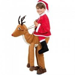 Fantasia Infantil Papai Noel Montando na Rena de Natal Halloween Carnaval