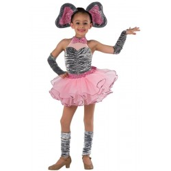 Fantasia Infantil Meninas Bailarina Elefante Cor de Rosa Halloween Carnaval