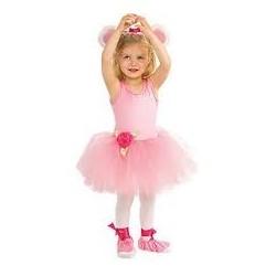 Fantasia Infantil Bailarina Ursinha Rosa Meninas Halloween Festa Importada
