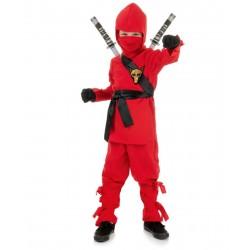 Fantasia Infantil Ninja Vermelho Halloween Carnaval