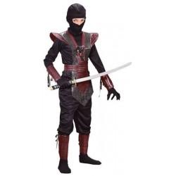Fantasia Infantil Ninja Luxo Vermelho Preto Halloween