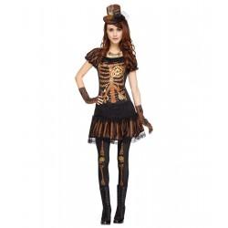 Fantasia Feminina Esquele Steampunk Halloween Carnaval Cosplay