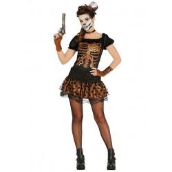 Fantasia Feminina Steampunk Esqueleto Halloween Carnaval Cosplay