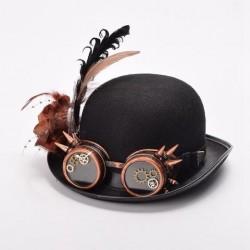 Chapéu Steampunk Feminino Preto Goggles Cobre Fantasia Cosplay Halloween Carnaval