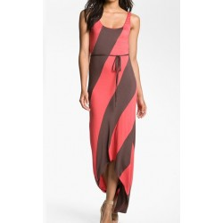 Vestido Casual Longo Maxi Dress Rosa e Marrom