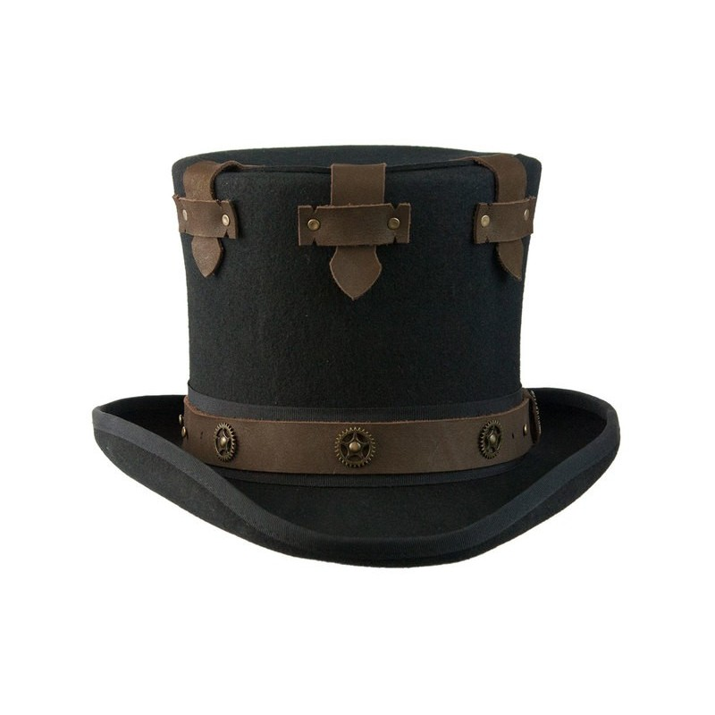 Chapéu Steampunk Preto Couro Top Hat Masculino Cosplay Halloween Carnaval