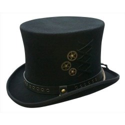 Chapéu Steampunk Preto Engrenagens Top Hat Masculino Cosplay Halloween