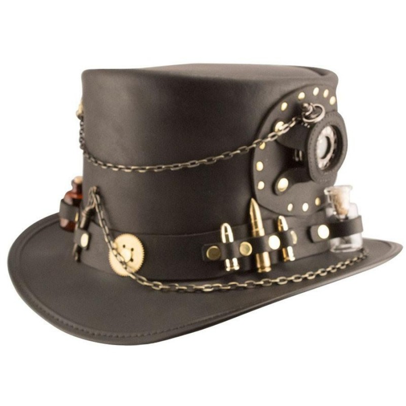 Chapéu Steampunk Couro Marrom Top Hat Masculino Cosplay Halloween