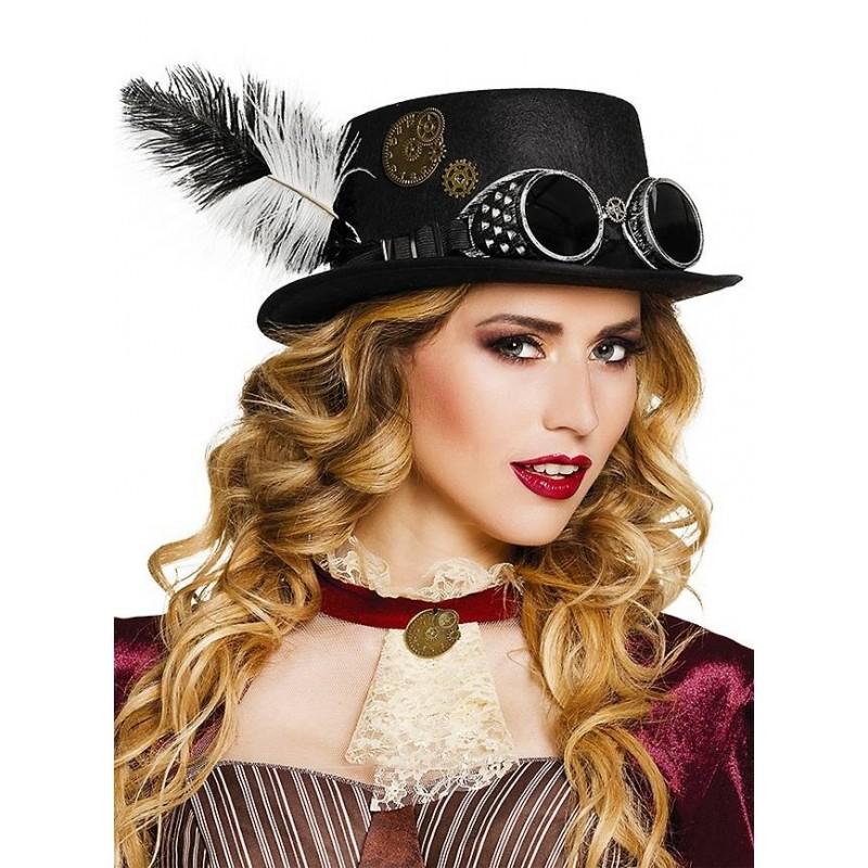 Chapéu Top Hat Steampunk Vitoriano Mulheres Fantasia Cosplay Carnaval Halloween