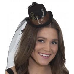 Chapéu Steampunk Vitoriano Feminino Mini Top Hat Fantasia Cosplay Carnaval Halloween